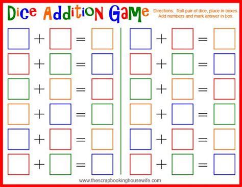 dice bingo printable dice addition math game for kids free printable math