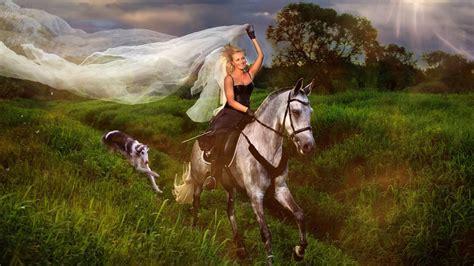 blue girl jockey  white horse hair veil field