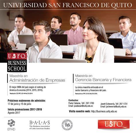 Mba Usfq by Maestr 205 A En Administraci 211 N De Empresas Y Gerencia Bancaria