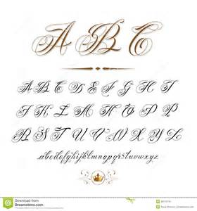 Vector hand drawn calligraphic alphabet based on calligraphy masters