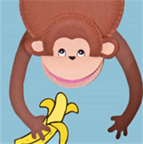 Paper Plate Monkey Craft - monkey theme crafts and learning activities for