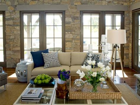 beige living room with blue accents