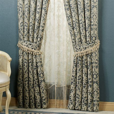 steel blue curtains sterling waterfall valances