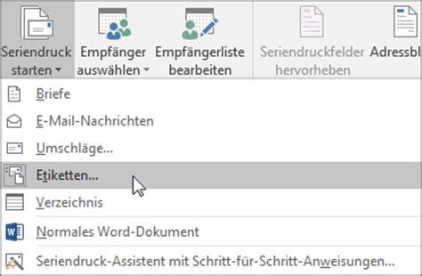Brief Etiketten Mit Word Drucken by Erstellen Und Drucken Etiketten Mit Der