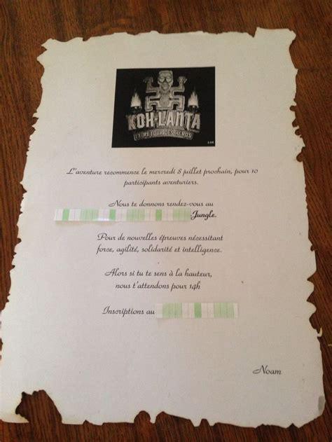 Exemple De Lettre Pour Koh Lanta Carte Invitation Anniversaire Koh Lanta Anniv Invitations