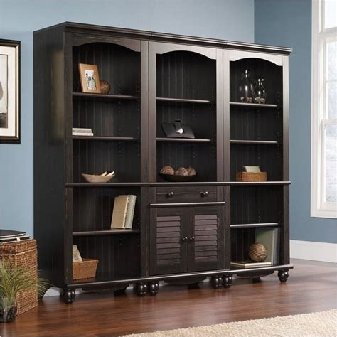 sauder library bookcase library wall bookcase in antiqued paint 401632 401633 pkg