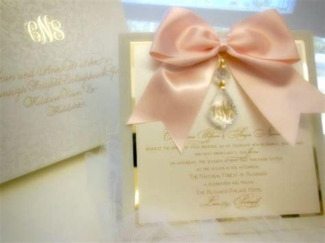 Wedding Invitations Embellishments by Versailles Blush Gold Hanging Wedding Invitation