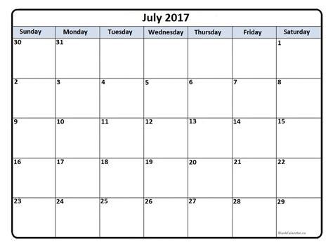 Calendar July 2017 July 2017 Calendar July 2017 Calendar Printable