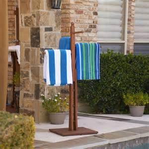 outdoor towel holder eucalyptus outdoor towel rack at brookstone buy now
