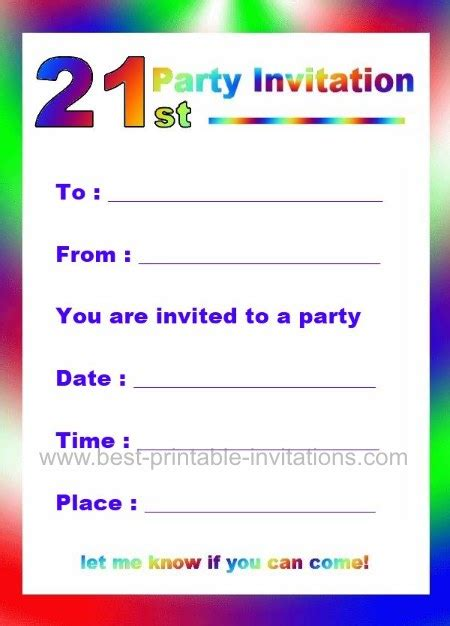 21st birthday invitation wording sles printable 21st birthday invitations