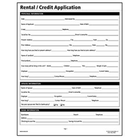Sle Rental Credit Application Form Socrates Rental Credit Application Real Estate Forms Somlf305 Shoplet