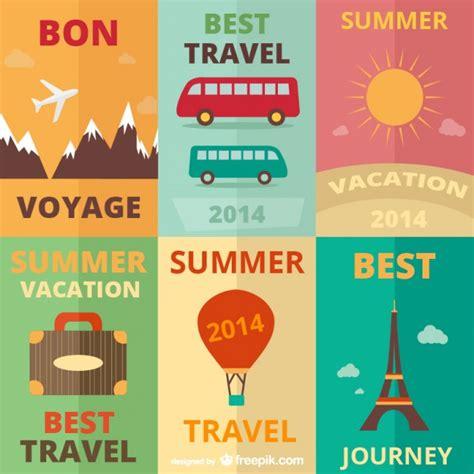flat design poster vector vintage travel posters vector free download