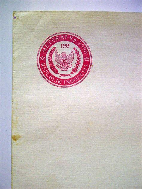 Kertas Segel Tahun 1973 jual beli kertas segel rp 2000 tahun 1995 ukuran