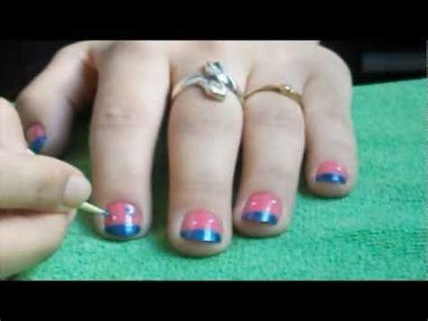 imagenes de uñas pintadas en azul tutorial de u 241 as en rosa y azul youtube