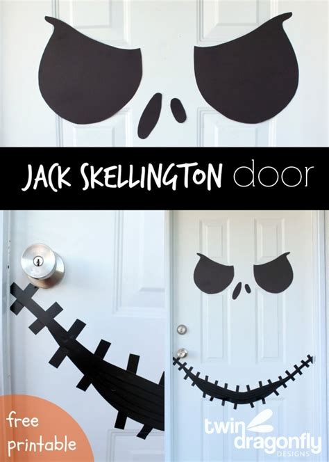 printable halloween door decorations jack skellington door with free printable 187 dragonfly designs