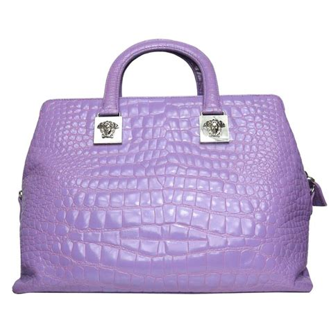 Couture Tinsley Leather Handbag by Gianni Versace Couture Purple Croc Embossed Enamel Leather