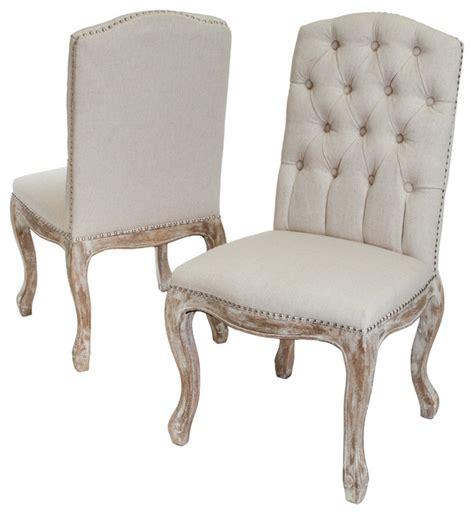 Jolie Linen Dining Chairs, Set of 2, Beige   Farmhouse