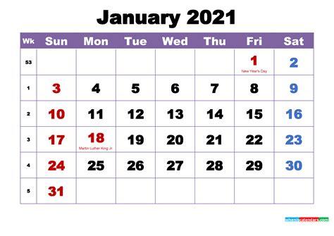 january  printable calendar  holidays word