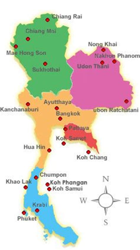 thailand map   main regions  thailand