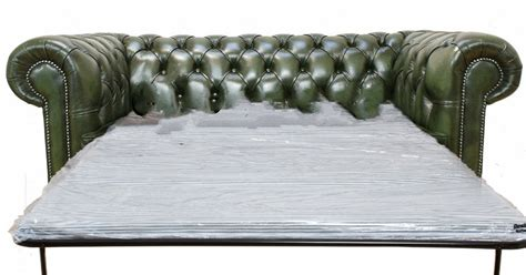 Green Leather Sofa 833 by Chesterfield 3 Seater Settee Sofa Bed Antique Green