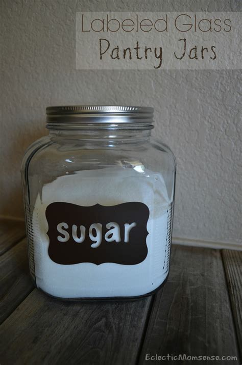 Glass Pantry Jars vinyl labeled glass pantry jars eclectic momsense