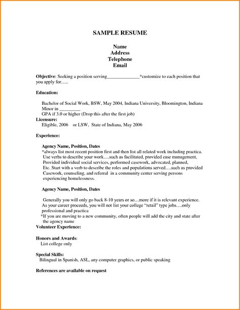 exles of work resumes 10 resume template high school financial