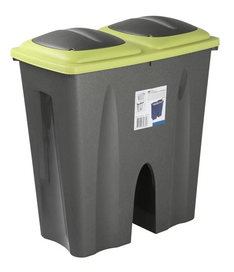 Ecopod E1 Home Recycling Center 2 by 50l Duo Bin Waste Garbage Trash Can Separator Side