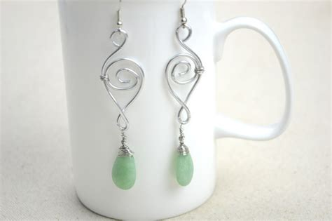 Handcraft Designs - jewelry designs ideas handcrafted earrings with jade drop