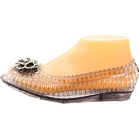 plastic flat shoes womens open toe jelly ballet flats shoe sandal clear
