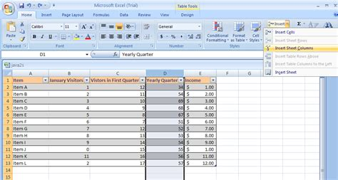 Add New Column To Table by Insert A Row Or Column Table Row Column 171 Table