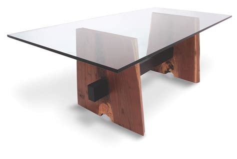 walnut base dining table glass top by rotsenfurniture on