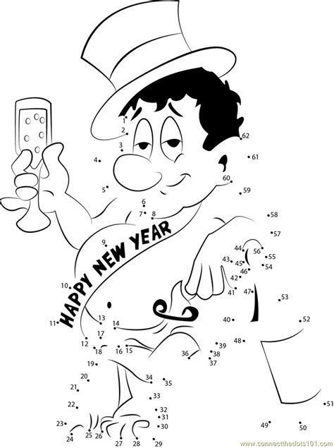 new year join the dots happy new year drinks celebration dot to dot printable