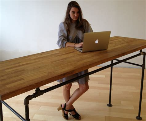 galvanized steel desk with handmade american oak top by