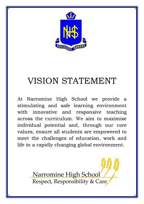 vision statement template high school vision statements