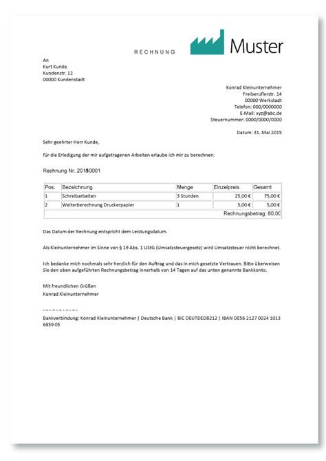 Muster Rechnung Ausland Kleinunternehmer Rechnung Richtig Erstellen Mit Muster