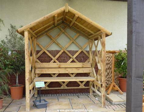 Covered Bench Outdoor Living Pinterest Wooden Garden