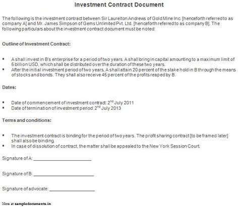 Investment Agreement Template Email Contract Template With 3 Investment Agreement Investment Loan Agreement Template