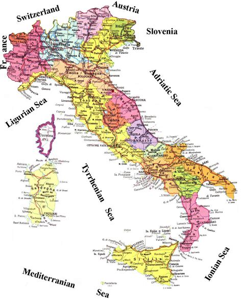 printable maps of italy administrative and road map of italy italy administrative