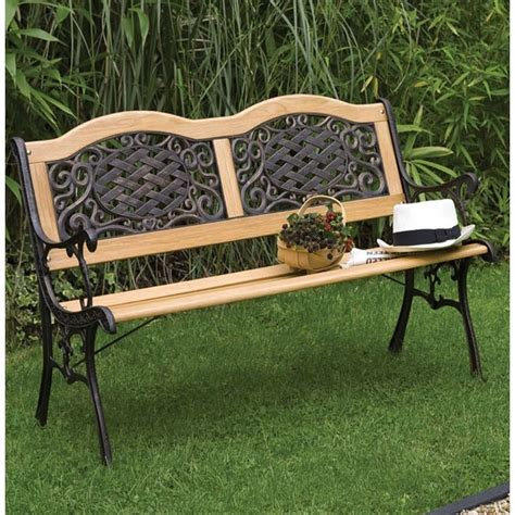 metal and wood garden bench mississippi wood metal resin bench the garden factory