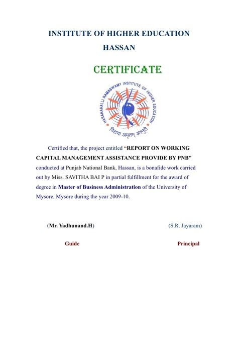 National Banking College Mba by Report On Working Capital Management Assistance Provided