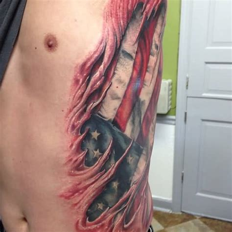 american flag ripping through skin tattoo 3d ripped skin ideas and 3d ripped skin