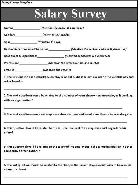 Salary Survey Template Free Word Templates Survey Templates