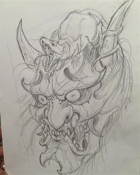 hannya mask tattoo sketch first draft for a backjob idea hannya rat