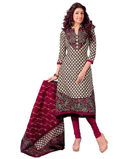 design dress material manufacturers shree ganesh beige cotton unstitched dress material buy