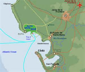 Rota Spain Map by Mediterranean Navy Ports