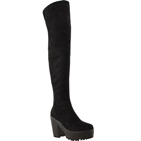 knee high chunky heel boots womens the knee thigh high chunky
