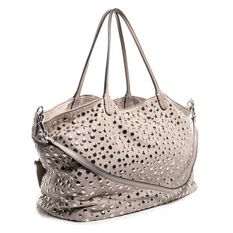 Valentino Studded Tote by Valentino Nappa Studded Petale Tote Taupe 75373