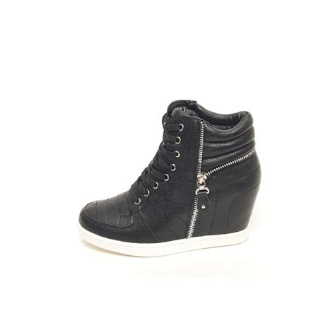 black and white wedge sneakers womens black white lace up zip decoration high top