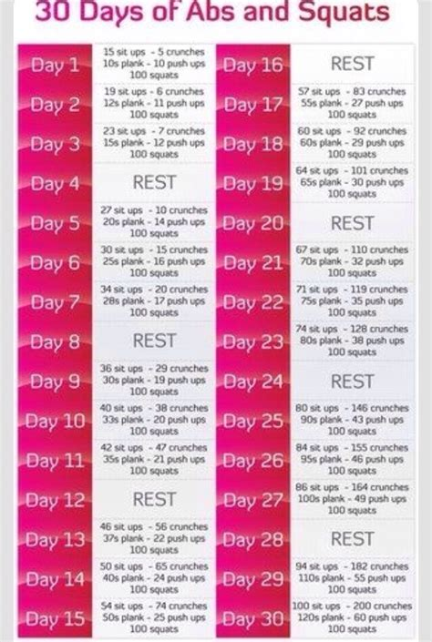 squats and abs challenge 30 day abs squat challenge trusper