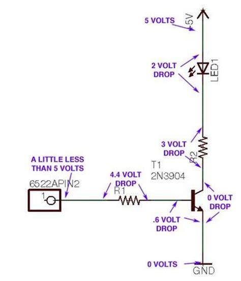 led resistor voltage drop blinking led